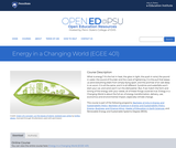 Energy in a Changing World