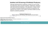 Isolation and Screening of Antibiotic Producers