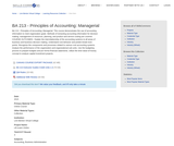 BA 213 - Principles of Accounting: Managerial