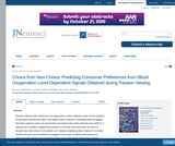 Article: Choice from Non-Choice: Predicting Consumer Preferences from Blood Oxygenation Level-Dependent Signals Obtained During Passive Viewing