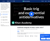 Basic trig and exponential antiderivatives