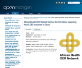 Beyond the first steps: Sustaining Health OER Initiatives in Ghana