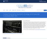Global Finance for the Earth, Energy, and Materials Industries